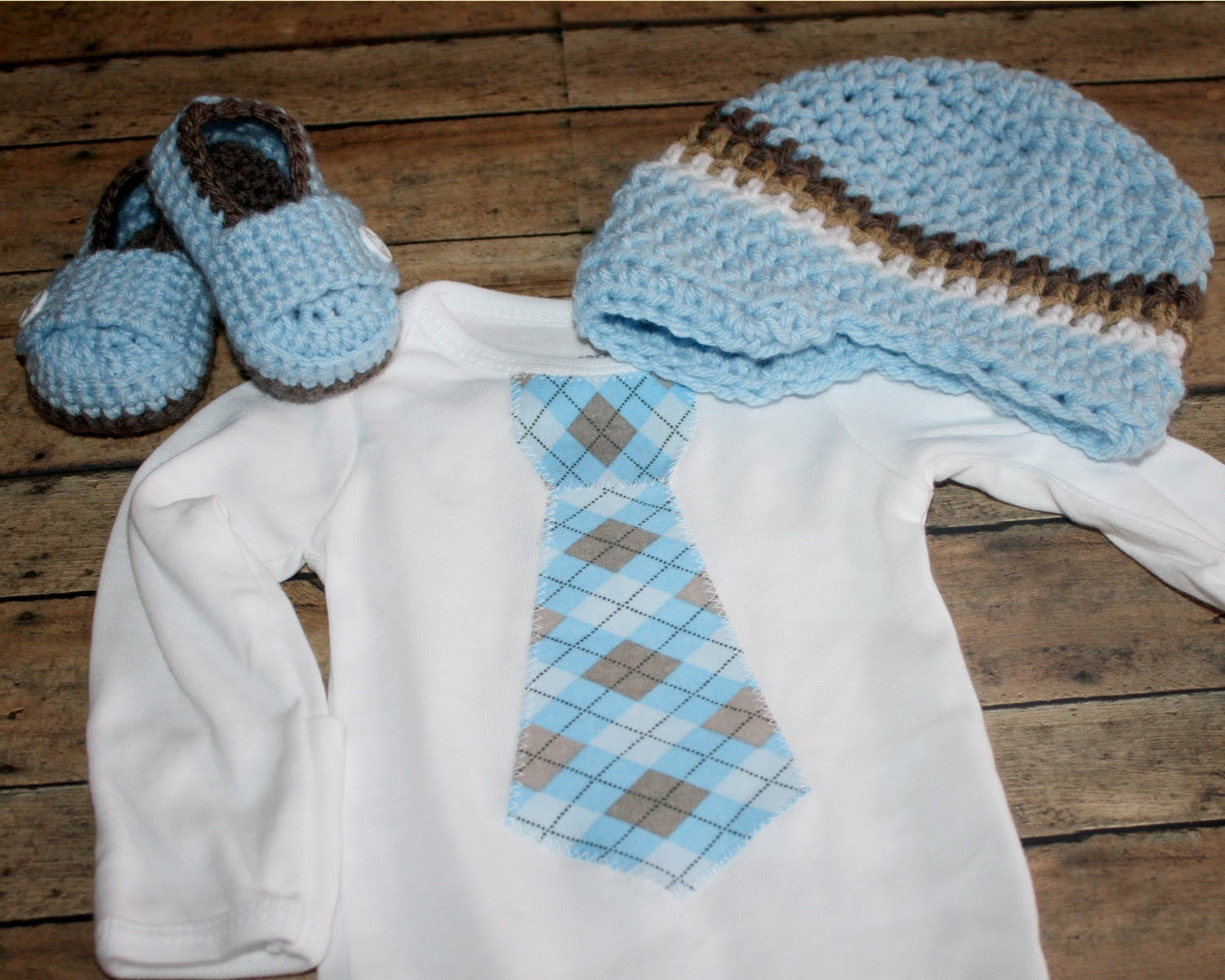 Boy set. Tie onesie, crochet loafers and crochet hat Coming Home Outfit  1st Birthday you choose size and design. Photo prop SALE price