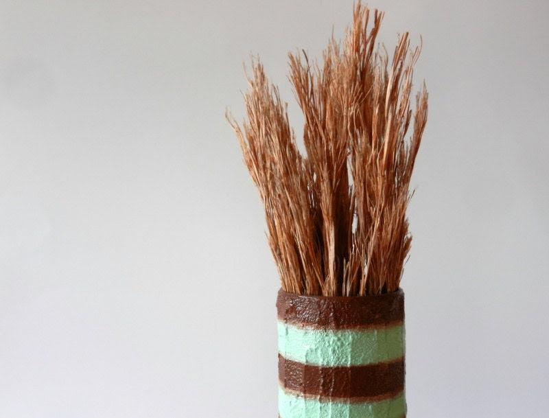 Chocolate Brown and Mint striped vase / Made-to-order /  handcrafted vase - CarriageOakCottage