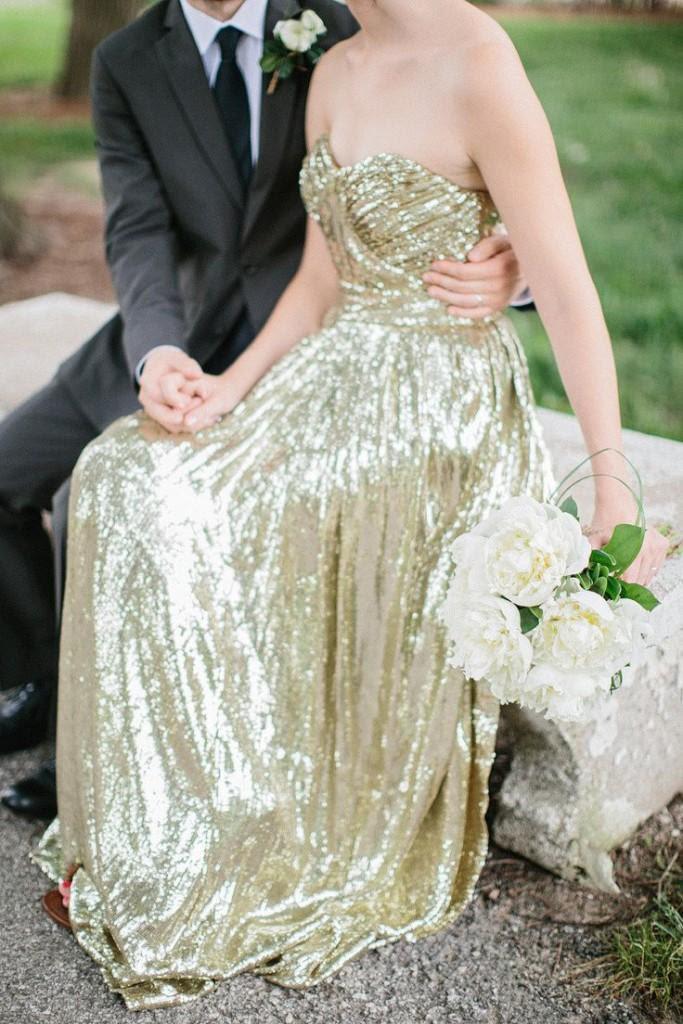 Vestidos de novia con mucho brillo