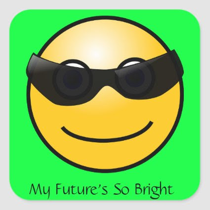 Bright Future Funny Sun in Sunglasses Sticker