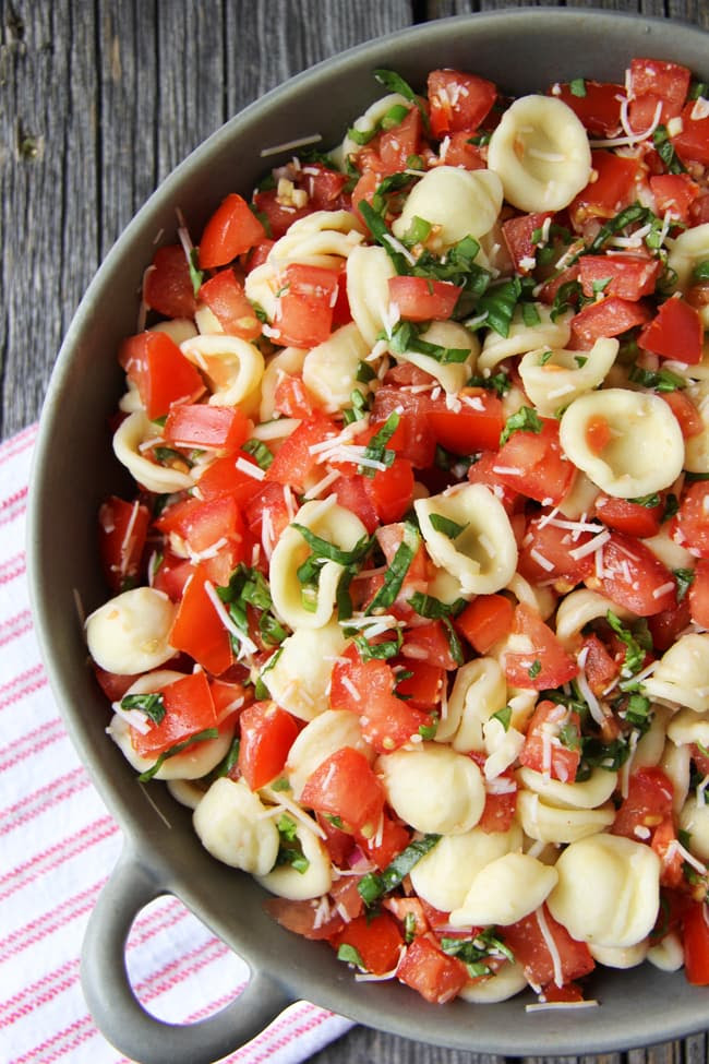 Bruschetta Pasta Salad  {A Pretty Life}