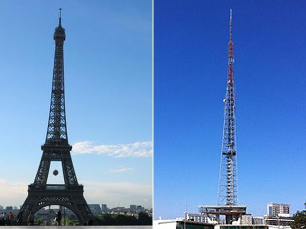 A Torre Eiffel (esquerda) e a Torre de TV de Brasília; contador francês Mathias Fancozer vê semelhanças entre as capitais brasileira e francesa (Foto: Ludovic Marin/AFP e G1)