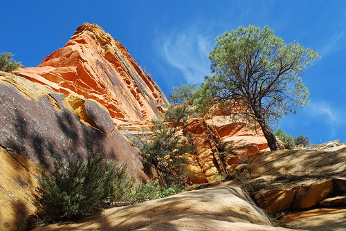 Orange rock and blue sky