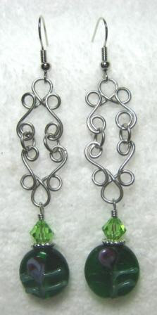Wire Wrapped Dangle Earrings with fire polished Czech beads