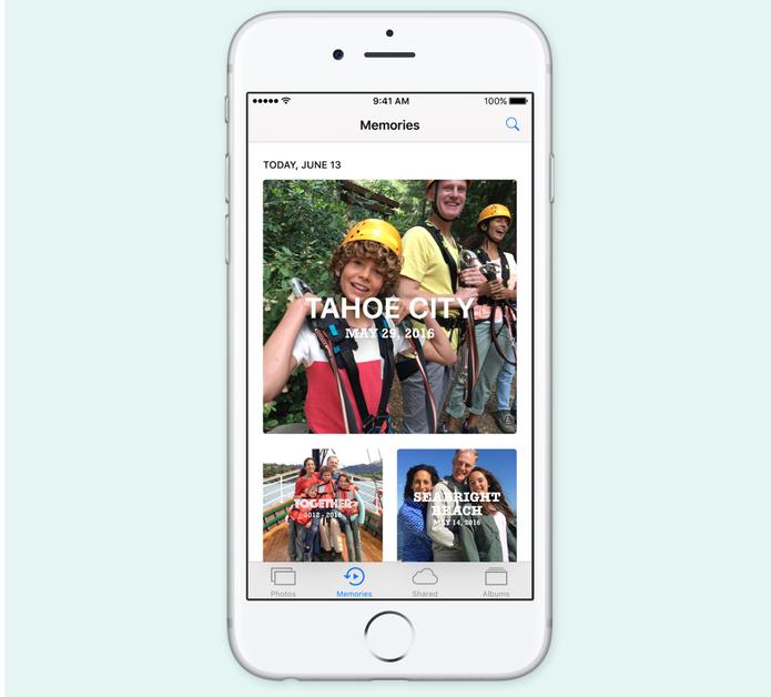 Photos do iOS 10 ganhou álbuns e reconhecimento de pessoas, lugares e objetos (Foto: Reprodução/Apple)