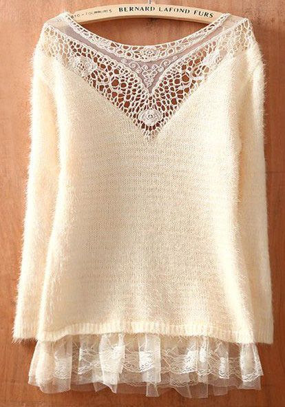 Lace Sweater ~ Inspiration ~ Another top from Sheinside with clever use of lace insert and tulle ruffles: