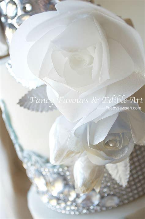 Blue & diamond wedding cake in Birmingham & diamante tier