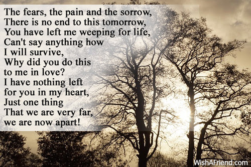 The Fears And Pain Sad Love Poem