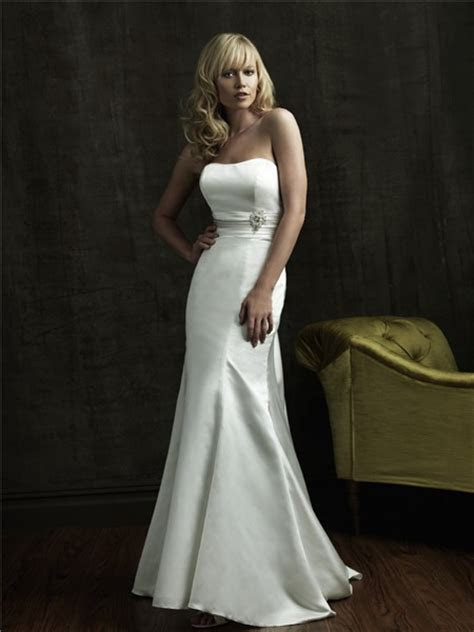 Simple Mermaid Strapless Sweep Train Satin Wedding Dress