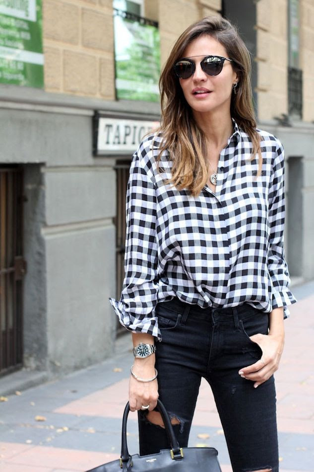 Le Fashion Blog How To Wear Gingham Shirt Blogger Style Black Ripped Jeans Dior Sunglasses Silver Watch Via Lady Addict photo Le-Fashion-Blog-How-To-Wear-Gingham-Shirt-Blogger-Style-Black-Ripped-Jeans-Dior-Sunglasses-Silver-Watch-Via-Lady-Addict.jpg