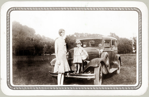 Woman and Girl with 1929 Dodge.  Heck