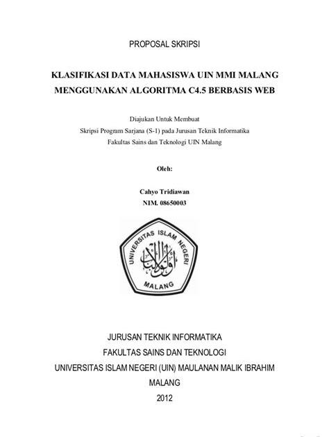 Contoh Cover Proposal Pengajuan Judul Skripsi Kumpulan Contoh