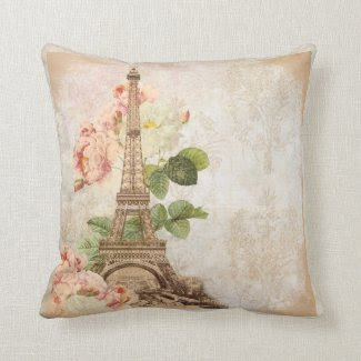 Paris Pink Rose Vintage Romantic Pillow