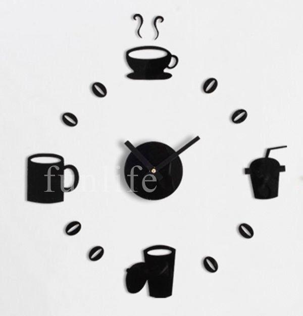 Wholesale funlife- Stylish Coffee Time Wall Stickers Clock acrylic ...