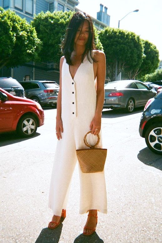 Le Fashion Blog Summer Style White Jumpsuit Mini Round Handle Basket Bag Strappy Red Heeled Sandals Via Lisa Says Gah