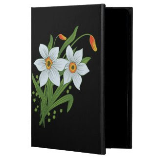 Tulips and Daffodils Gold Personalized Name iPad Air Covers