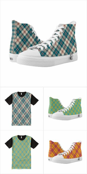 Plaid High-top Shoes and T-shirts for Men