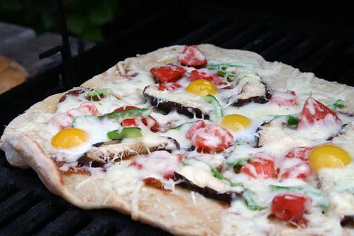 Quail egg pizza