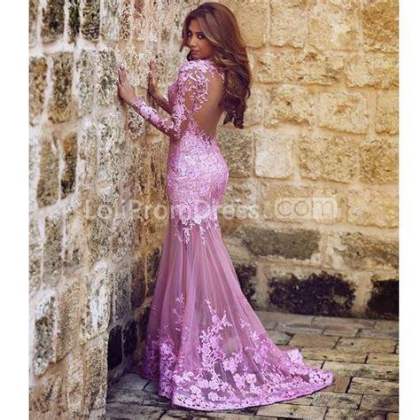 49%OFF Purple Mermaid Long Sleeves Appliques Prom Dresses