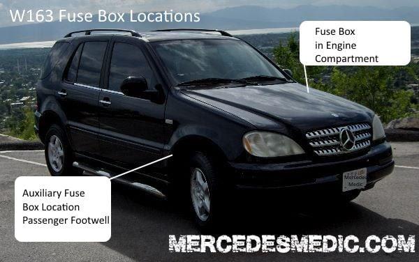 1998 2005 Benz Ml320 Ml350 Ml500 Fuse Box Location Diagram Mb Medic