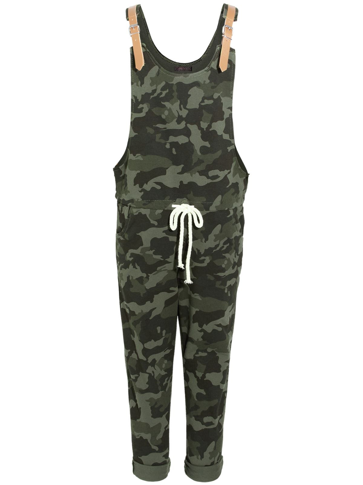 ladies womens dungaree camo camouflage jumpsuit 34 pants