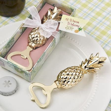 Gold Pineapple Themed Bottle Opener   Tropical Hawaiian