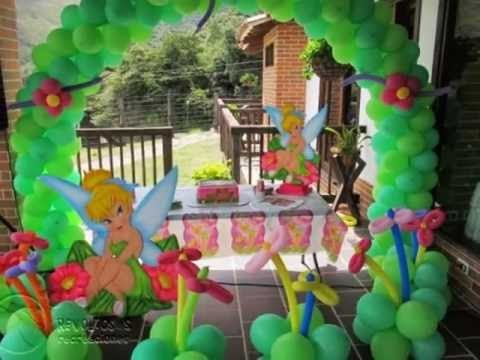 Decoracion fiesta campanita con globos recreacionistas for Globos decoracion fiestas