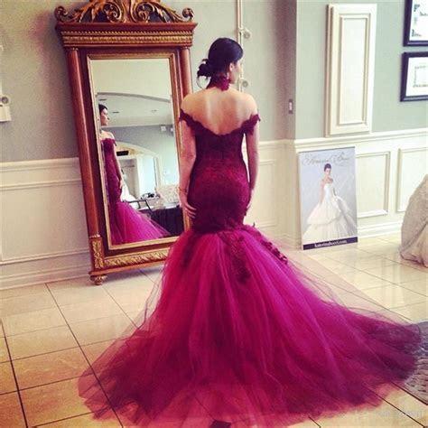 Sexy Mermaid Off Shoulder Sleeves Burgundy Lace Wedding Dress