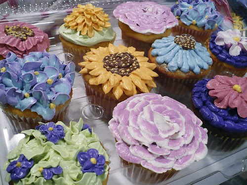 Floral cupcakes for 9 year old's birthday party