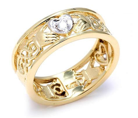 Claddagh Ring   Two Tone Gold Diamond Claddagh Wedding