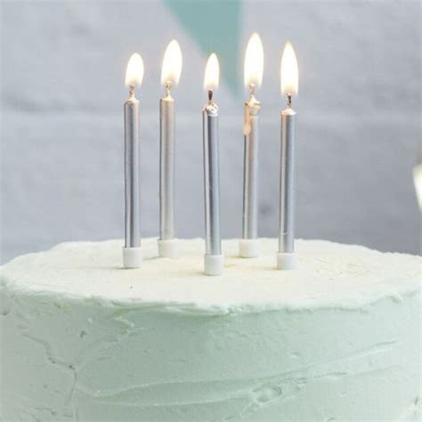 Silver Birthday Candles 24 Pack ? The Sweet Party Shop