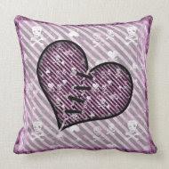 Cute Broken Heart & Skulls Pillow throwpillow