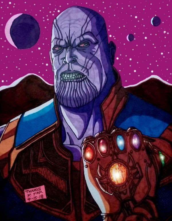 My illustration of Thanos sporting the Infinity Gauntlet from AVENGERS: INFINITY WAR.