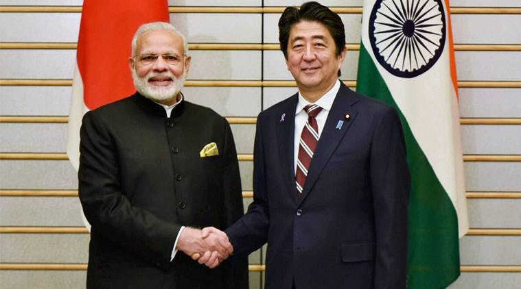 Narendra Modi, Shinzo Abe, bri project, japan, united states, shinzo abe, shinzo abe india visit, indo-pacific infrastructure development, narendra modi, modi, asia-africa growth corridor, india-japan, anti-submarine warfare exercise, anti-submarine warfare, indian navy, japan, rex tillerson, india, india news, indian epxress news