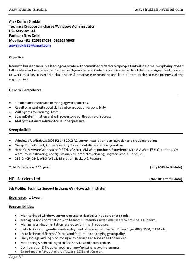 resume ajay shukla windows server vmware admin 1 638