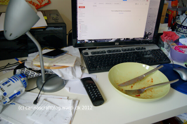 Messy desk + evidence of lunch!