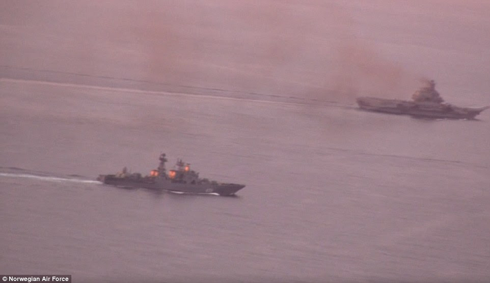 The Admiral Kuznetsov is part of a flotilla of eight surface ships which is also been tracked by Russian submarines