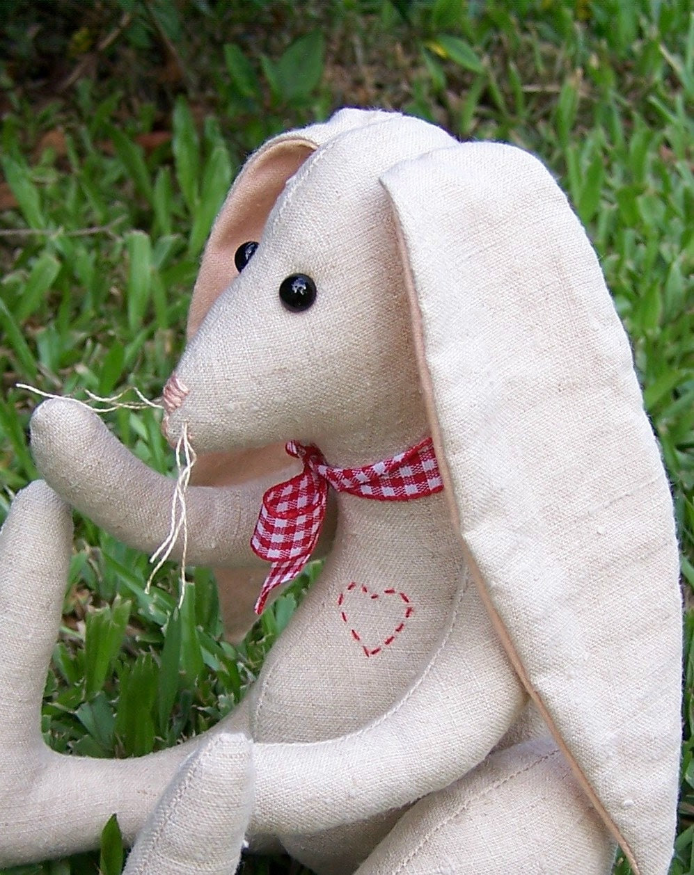 SMALL FABRIC RABBIT in Cotton Linen with Red for Easter