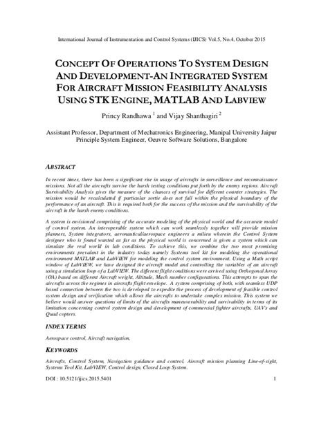 CONCEPT OF OPERATIONS TO SYSTEM DESIGN AND DEVELOPMENT-AN