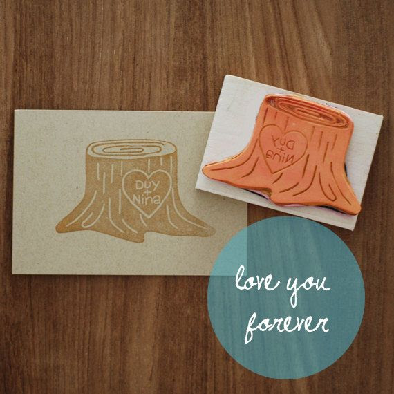 Love You Forever Custom Hand Carved Tree Trunk Rubber Stamp