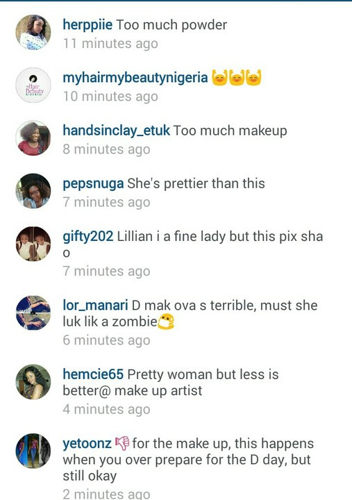 Fans say Lilian Esoro's make up for her traditional marriage was horrible