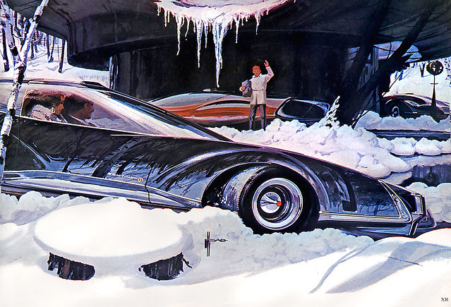 ... coupe in snow - Syd Mead