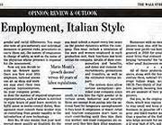 La pagina di oggi sul Wall Street Journal con l'articolo in questione