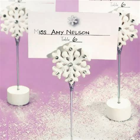 White Snowflake Place Card Holders, Winter Wedding