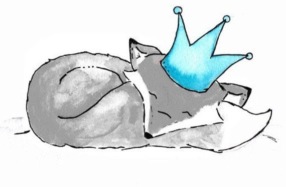 Grey Fox Prince 8x10 Archival Print Turquoise