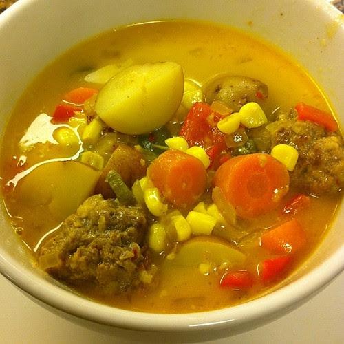 Tortilla Meatball Soup a la @CookingLight