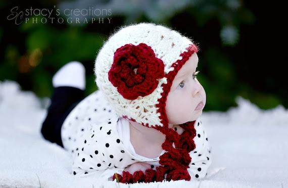 Crochet Baby Girl Hat, Crochet Baby Bonnet, Flower, Crochet Newborn Hat, Infant Bonnet, Valentine Hat, Baby Photo Prop, Scarlet, Cream