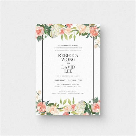 Floral Letter I Invitation Card   The Paperpapers