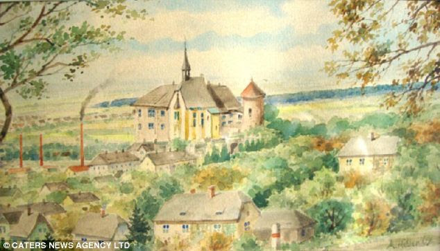 Scenes depict views across vast areas of farmland with a distant church spire on the road, village scenes and rows of factories
