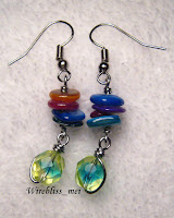 Wire Wrap Colorful Shell and fire polished bead Bracelet & Earrings
